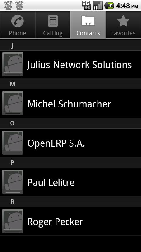 Open ERP Contacts - screenshot
