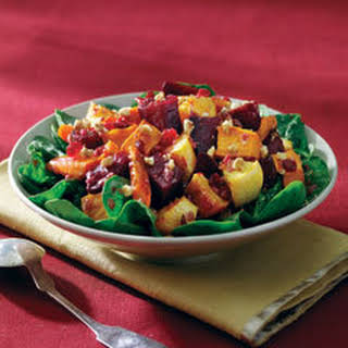 Roasted Root Vegetables Over Greens.