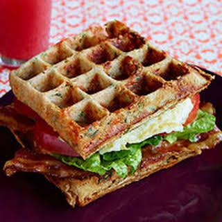 Cheddar-Whole Wheat Waffle BLT Sandwiches.