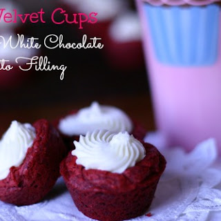 Red Velvet Cups with White Chocolate Amaretto Filling