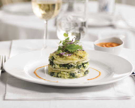 Royal-Caribbean-dining-potato-leek-spinach - Potato Leek and Spinach Tower, available from the kitchen of your Royal Caribbean ship.