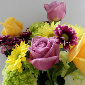 Bouquet of Purple and Yellow by Kathy Rose Willis - Flowers Flower Arangements ( bouquet, green, purple flowers, purple rose, yellow, flowers,  )