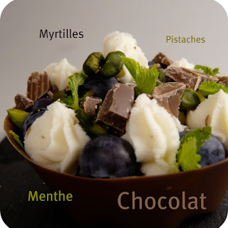 Bluberry-Pistachio Tartletts with Chocolate Shells.