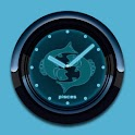 PISCES - Neon Blue Clock