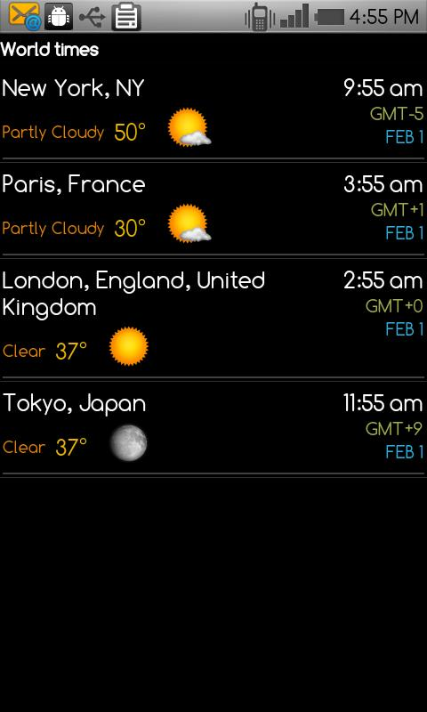 World clock & weather - screenshot