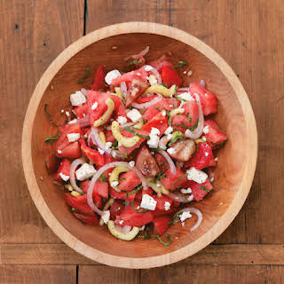 Tomato and Watermelon Salad with Feta Cheese.