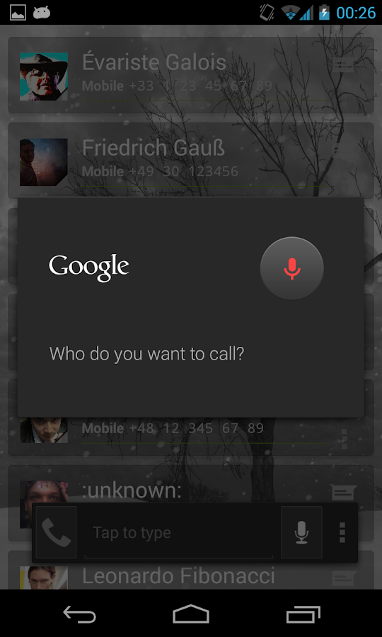 Intelliphone dialer- screenshot