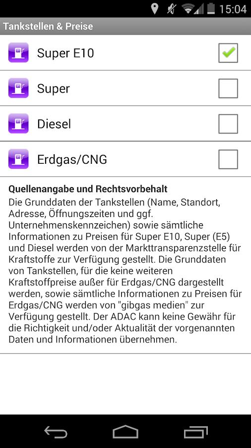 ADAC Spritpreise - screenshot