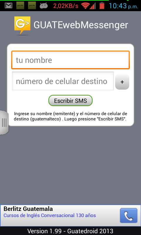 GUATEwebMessenger - Free SMS - screenshot