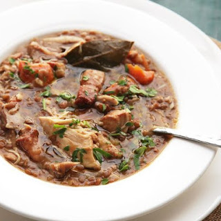 Quick and Easy Pressure Cooker Chicken, Lentil, and Bacon Stew with Carrots