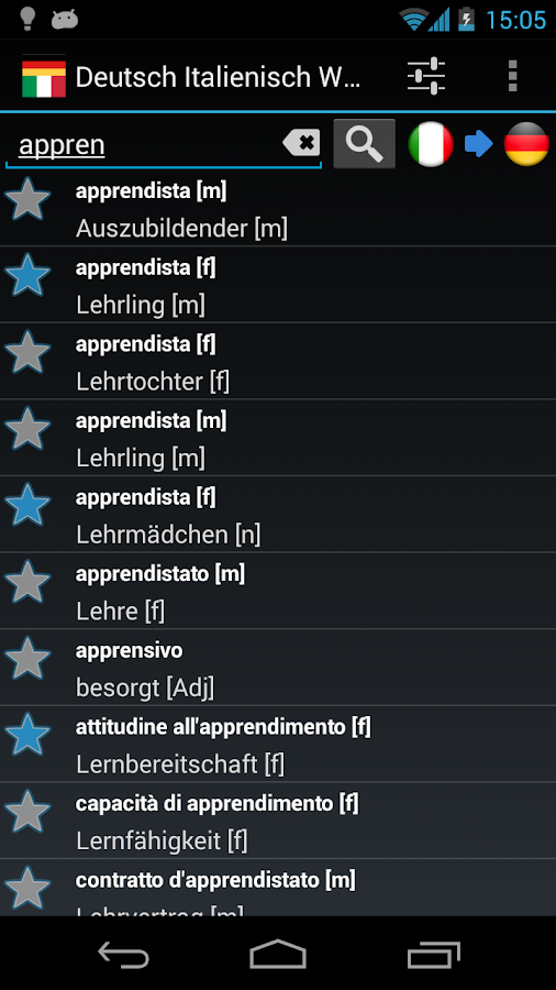German Italian Dictionary - screenshot