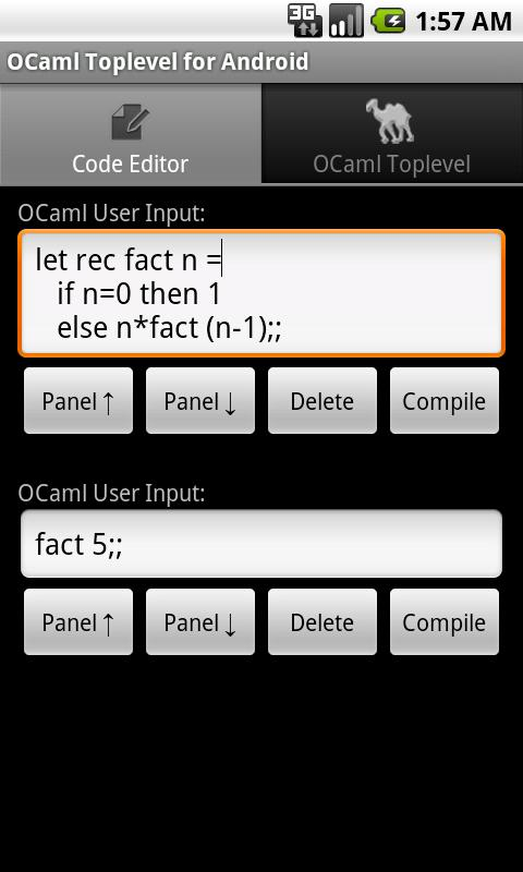 OCaml Toplevel for Android- screenshot