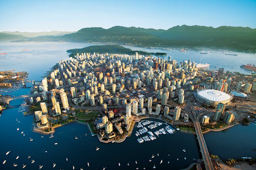A birds-eye view of Vancouver, British Columbia, on a beautiful morning.