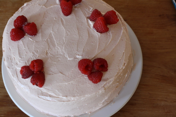 Lemon Birthday Cake with Raspberry Buttercream Recipe