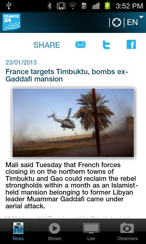 FRANCE 24 for Android - screenshot