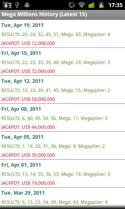 USA Lotto Results - screenshot