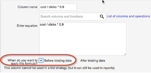 "Select the ""Before totaling data"" option when creating a formula column."