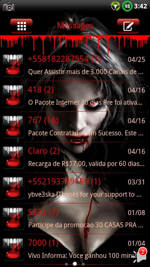 Vampire GO SMS Theme - screenshot