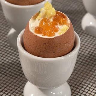 Caviar-Topped Scrambled Eggs in Eggshells.
