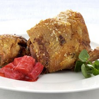 Crisp Roast Duck with a Confit of Rhubarb and Ginger Recipe