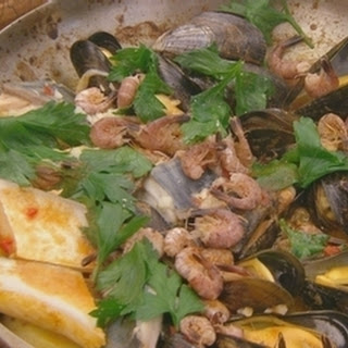 Seafood Casserole With Pear And Roe Salad