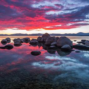 Alpine Reflection by Mike Lindberg - Landscapes Cloud Formations ( alpine lake, reflection, sierra nevada, mountain lake, california, nevada, eastern sierra, tahoe, sierra, lake tahoe )