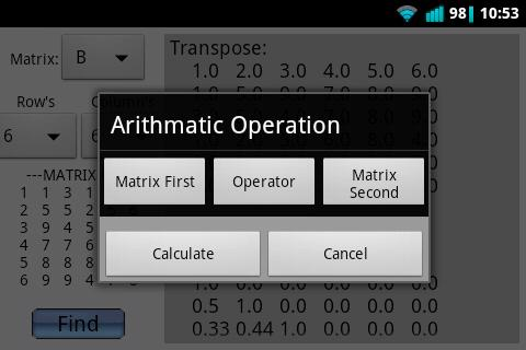 Matrix Calculator (Advanced) - screenshot
