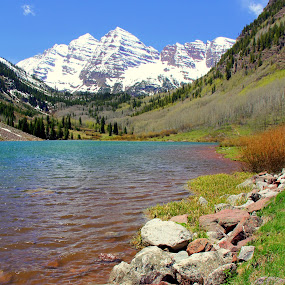Maroon Bells, Colorado by Leong Jeam Wong - Landscapes Mountains & Hills ( water, mountains, stream, snow, colorado, maroon bells, rocks, river,  )