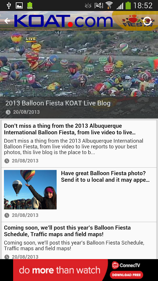 KOAT Balloon Fiesta Tracker - screenshot
