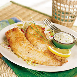 Pan-Fried Tilapia with Tangy Tartar Sauce.