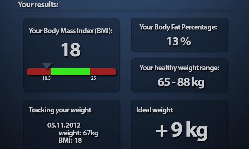 Screenshots for BMI Calculator