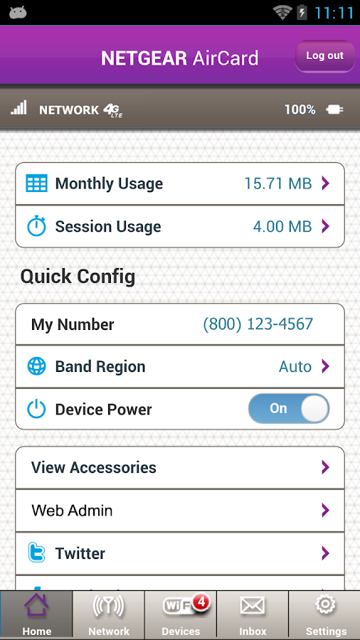 NETGEAR AirCard - screenshot