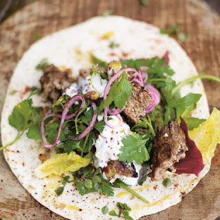 Grilled Lamb Kofta Kebabs with Pistachios & Spicy Salad Wrap Recipe