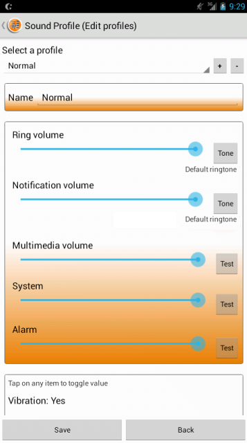 Sound Profile +volume schedule - screenshot