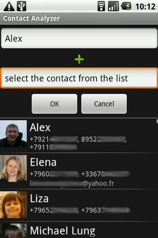 Contact Analyzer - screenshot