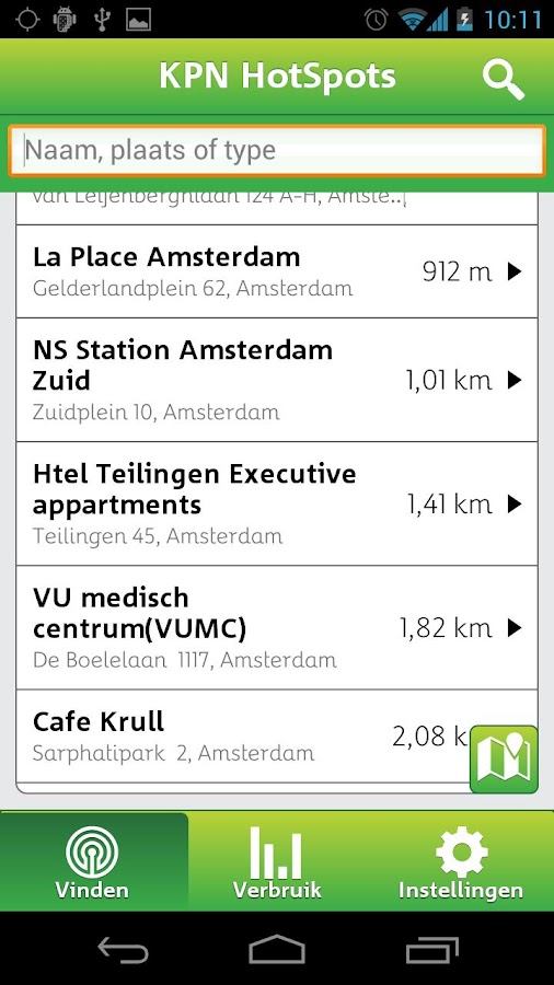 KPN HotSpots- screenshot