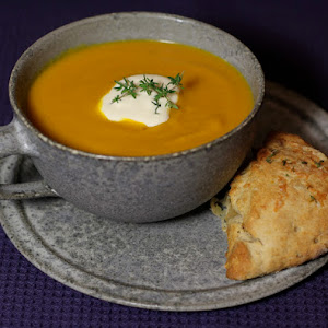 Pumpkin Soup with Comte Cheese and Thyme Scones