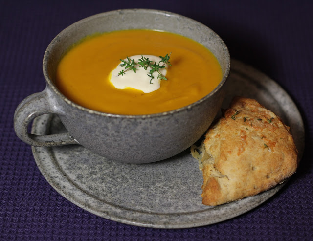 Pumpkin Soup with Comte Cheese and Thyme Scones Recipe