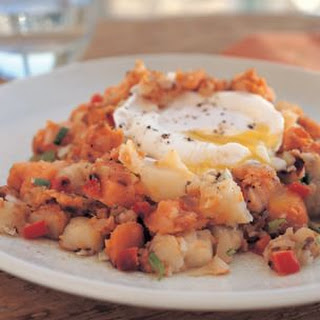 Sweet Potato Hash with Poached Eggs.