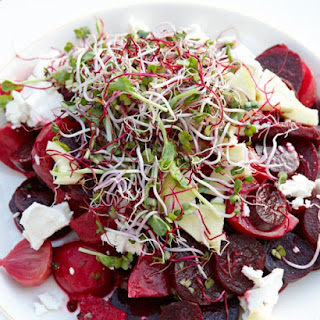 Beet Salad with Goat Cheese, Green Apple, and Honey.