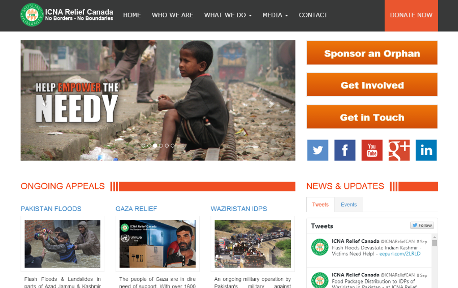 ICNA Relief Canada- screenshot
