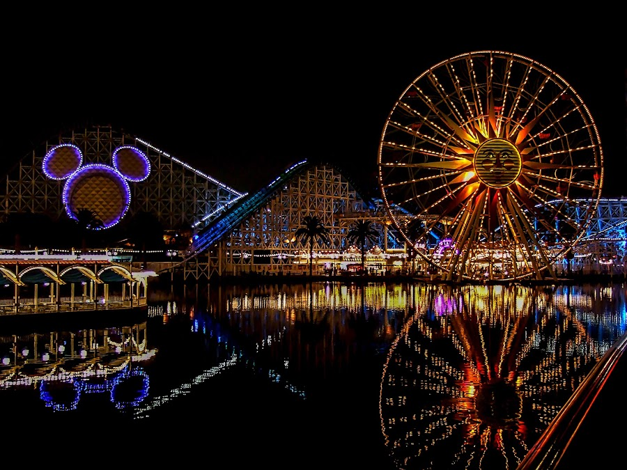 California Adventure by Ed & Cindy Esposito - City,  Street & Park  Amusement Parks ( mickey mouse, amusement park, california, reflections, ferris wheel )