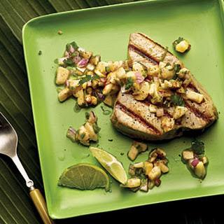 Grilled Seafood with Banana-Lime Salsa.