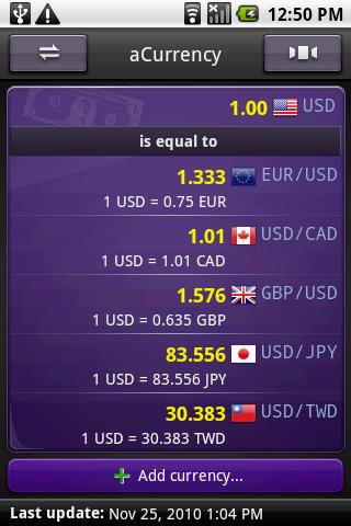 aCurrency Pro (exchange rate) Screenshot 2