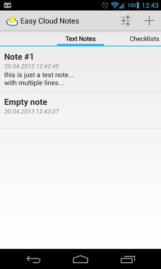 Easy Cloud Notes - screenshot