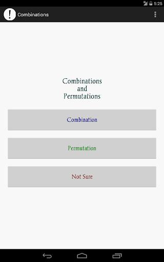 Combinations Permutations