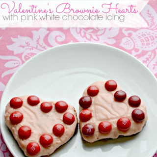 Valentine's Brownie Hearts with White Chocolate Icing.
