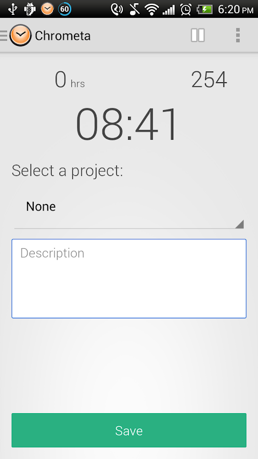 Chrometa Call & Time Tracker- screenshot