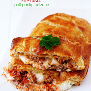 Cheesy Meatball Puff Pastry Calzone Recipe