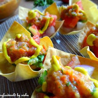 Mini Taco Cups with Roasted tomato salsa